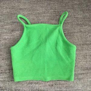 Topshop green textured high neck crop top